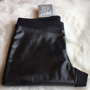 NWOT Calvin Klein Black Faux leather compression